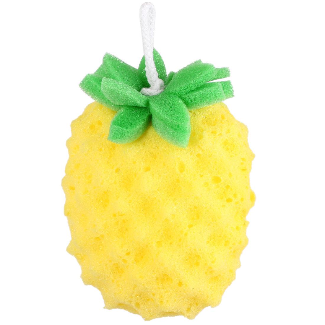 Yellow Pineapple Shape Bath Sponge Body Exfoliate Shower Loop Scrubber