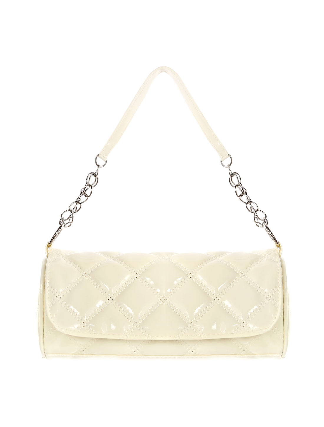 Woman Rhombus Quilted PU Leather Chain Strap Shoulder Bag Beige