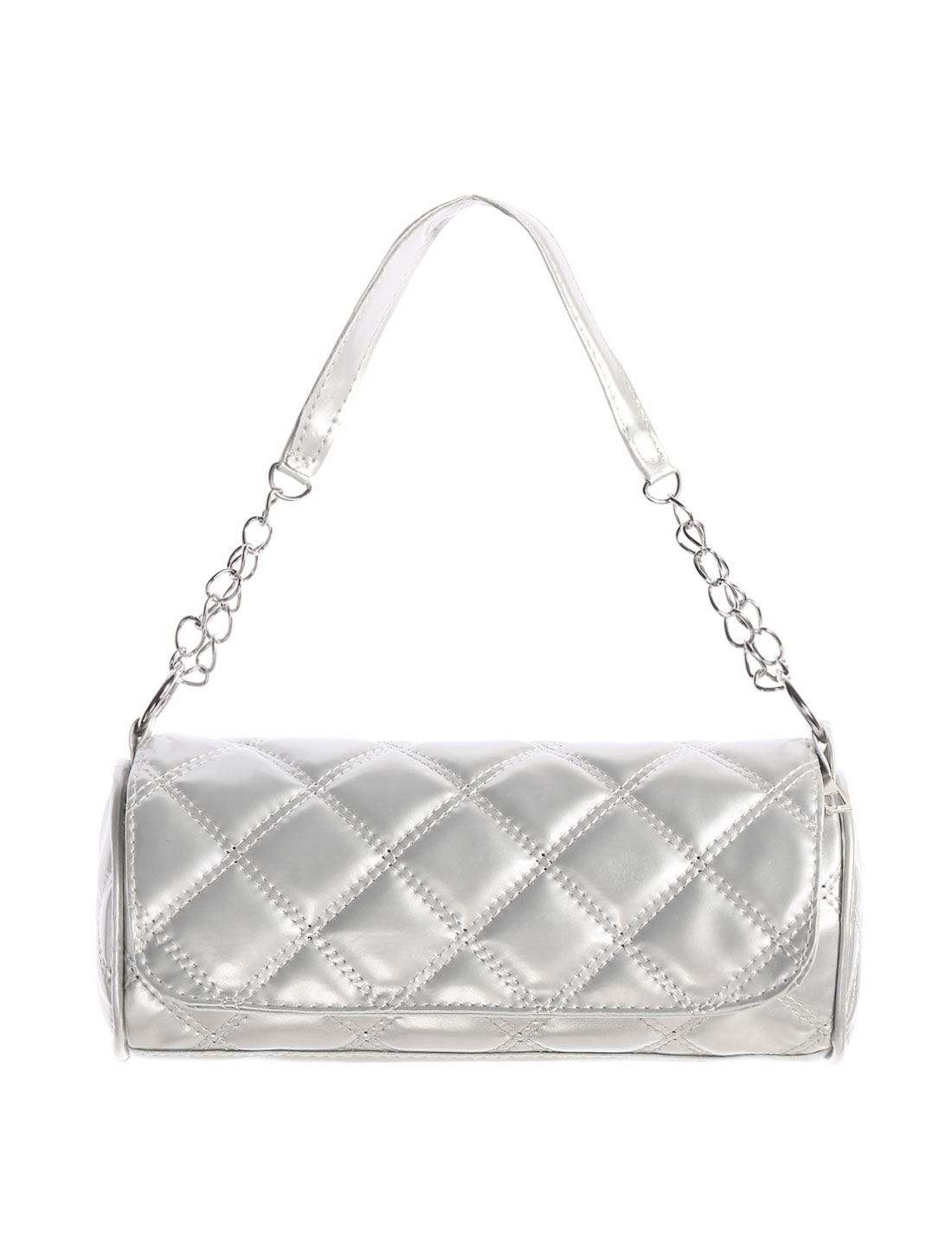 Woman Rhombus Quilted PU Leather Fashion Shoulder Bag Silver Tone