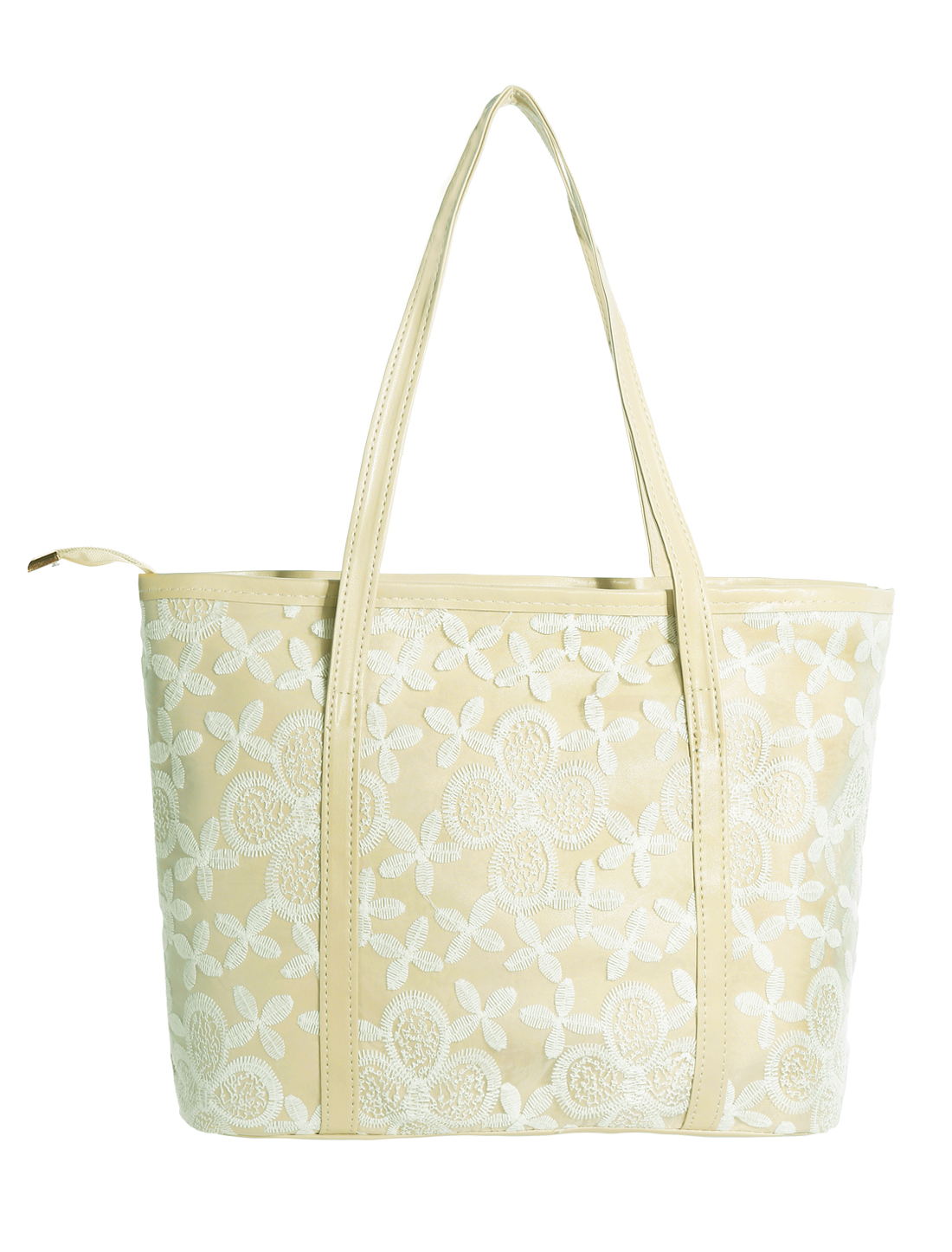 Ladies Zipper Closure Flower Embroidery Panel Interior Pockets Totes Beige