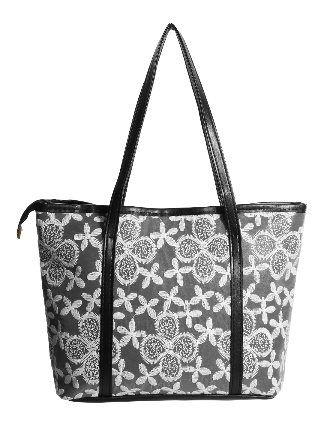 Women Zipper Closure Flower Embroidery Panel Interior Pockets Tote Black