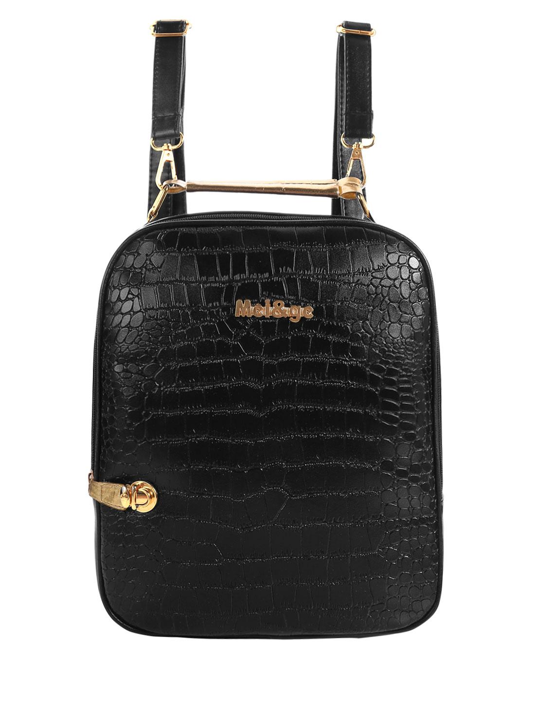 Ladies Snakeskin Leather Design Detachable Shoulder Straps Backpack Black
