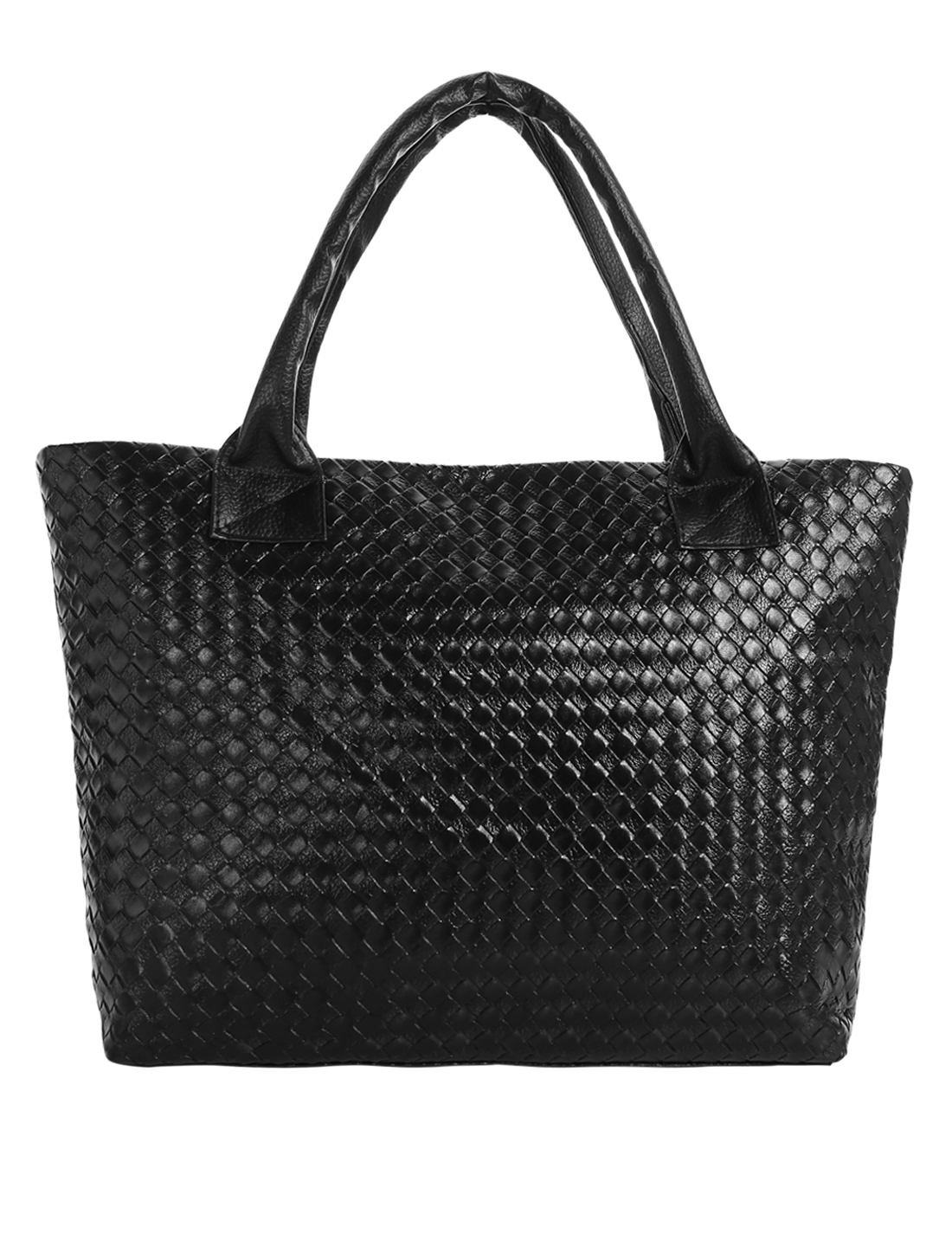 Ladies Zipper Closure Argyle Design Flower Print Interior Casual Tote Black