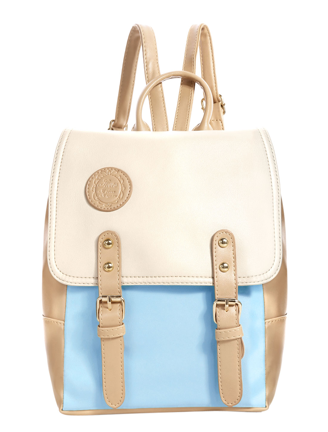 Woman Color Block PU Leather School Bag Backpack Light Blue