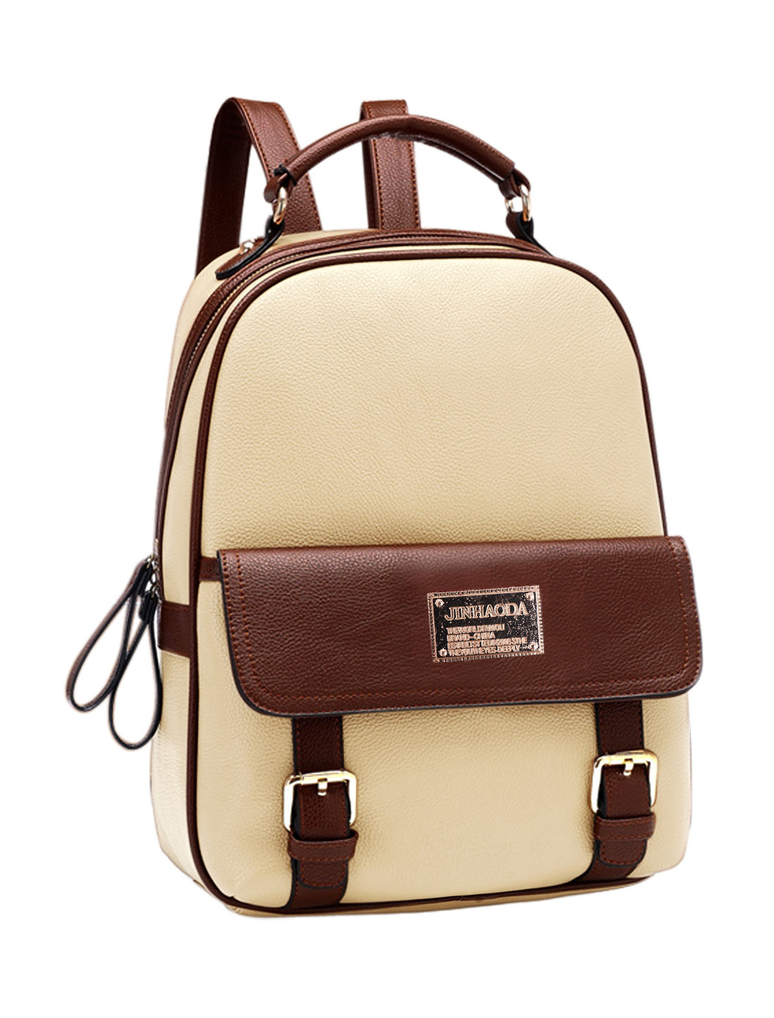 Women Snap Closure Pocket Front Zipper Closed Leisure Backpacks Beige