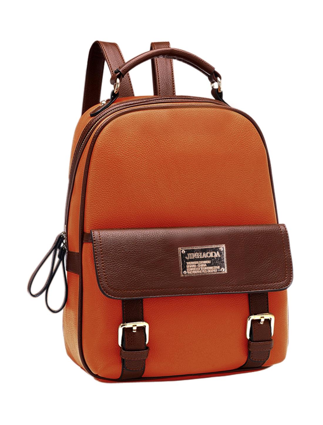 Women Color Block Zipper Closed Adjustable Shoulder Straps Backpack Brown