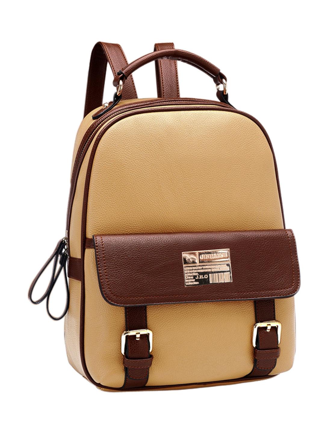 Women Color Block Snap Closure Pocket Front Zipper Closed Casual Backpack Khaki