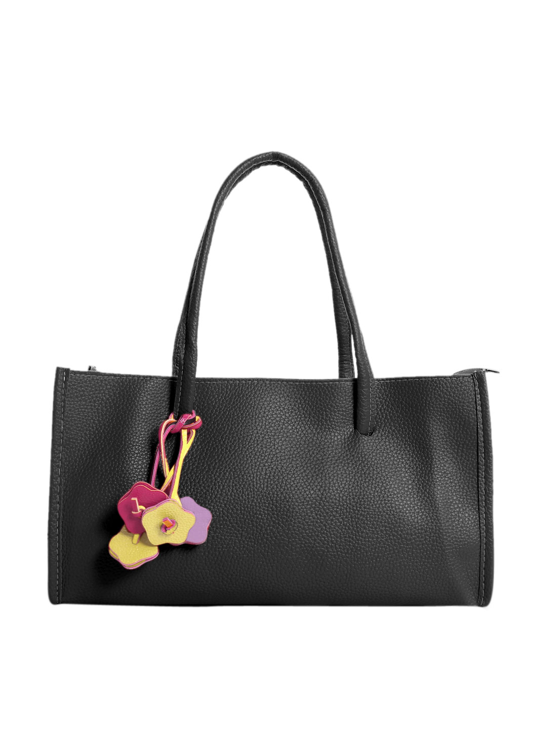 Woman Zip Closure PU Leather Floral Embellished Box Satchel Black