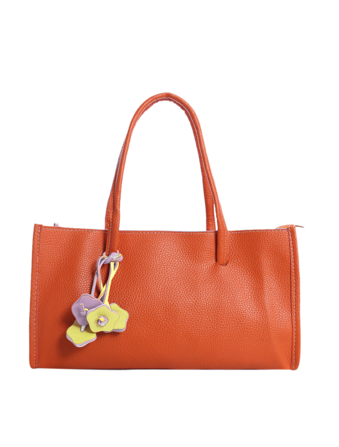 Woman Textured PU Leather Zip Closure Fashion Box Satchel Orange
