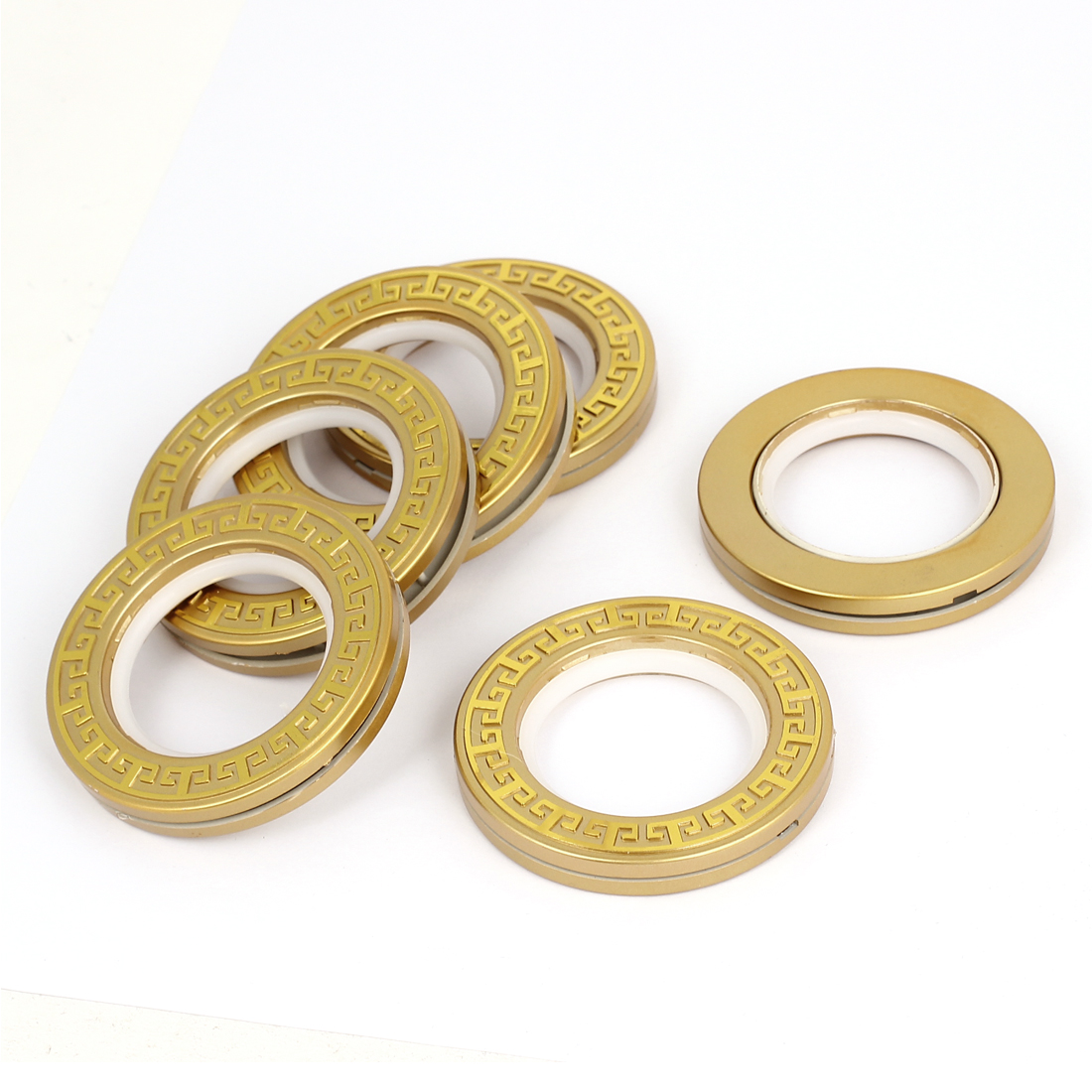 6pcs 44mm Plastic Eyelets Rings Clips Grommets Gold Tone for Curtain Drapery Rod