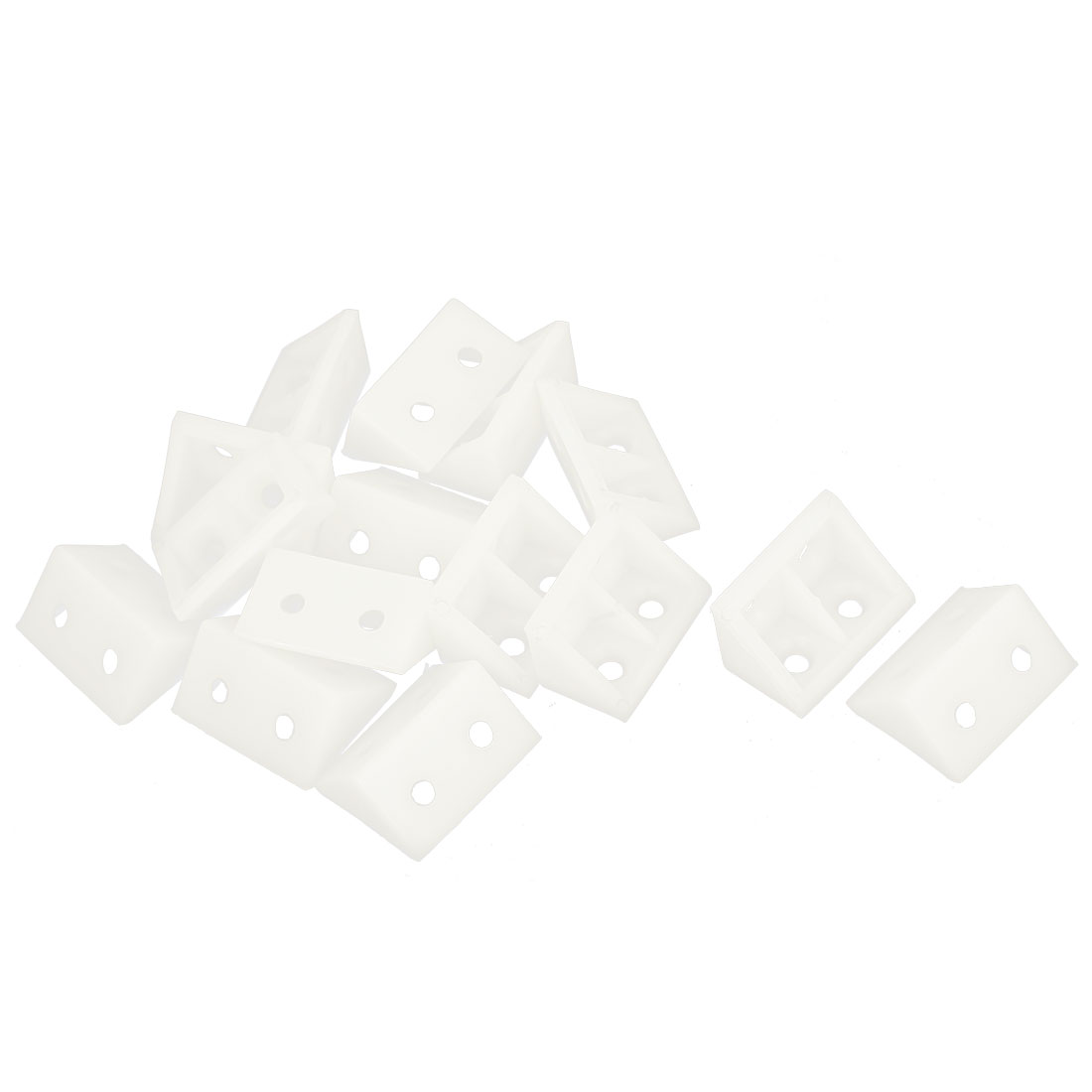 Cabinet Shelf 33 x 19 x 19mm Plastic Corner Bracket Angle Brace White 15pcs