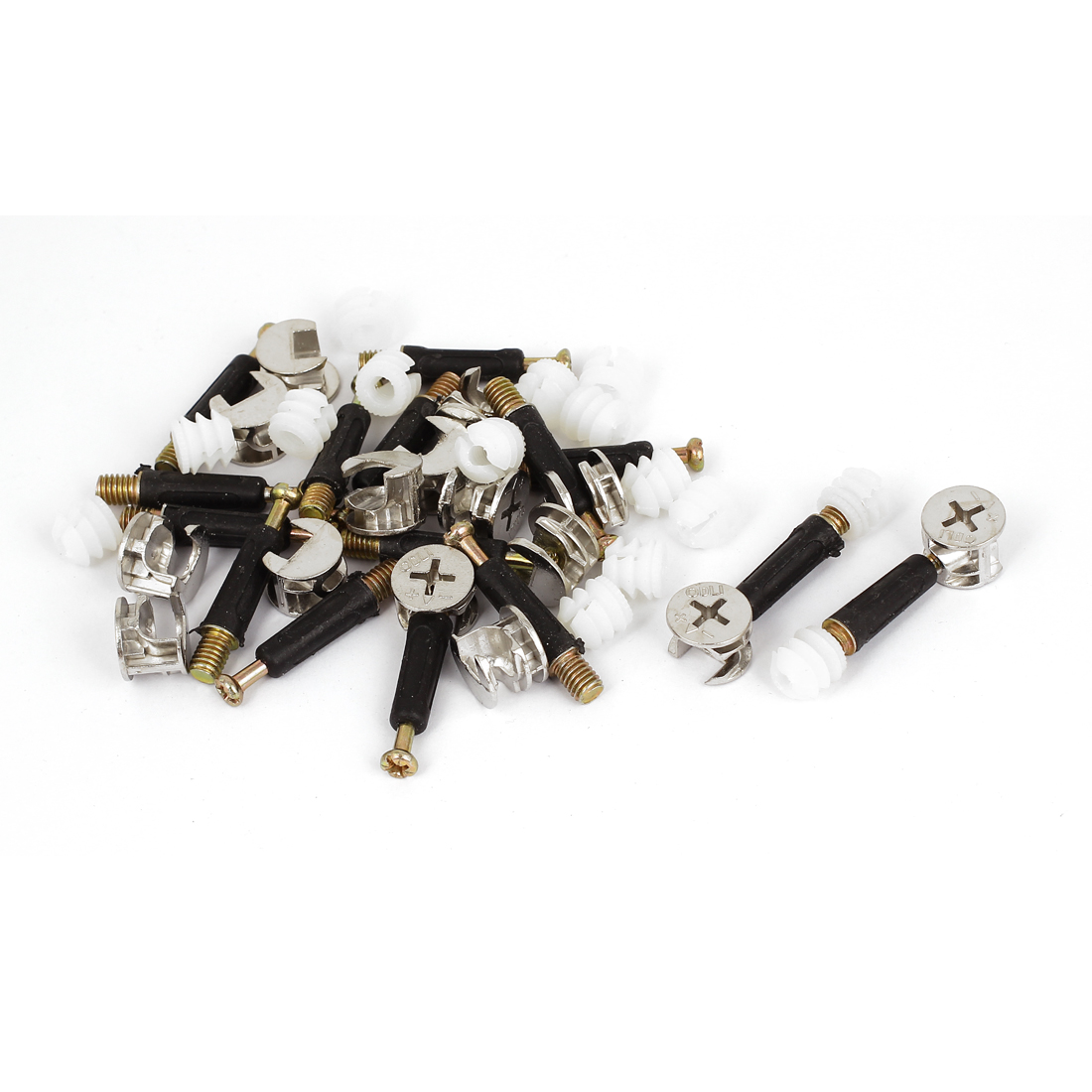 Furniture Connecting 15mm Dia Cam Fittings Pre-inserted Nuts Dowels 15 Sets