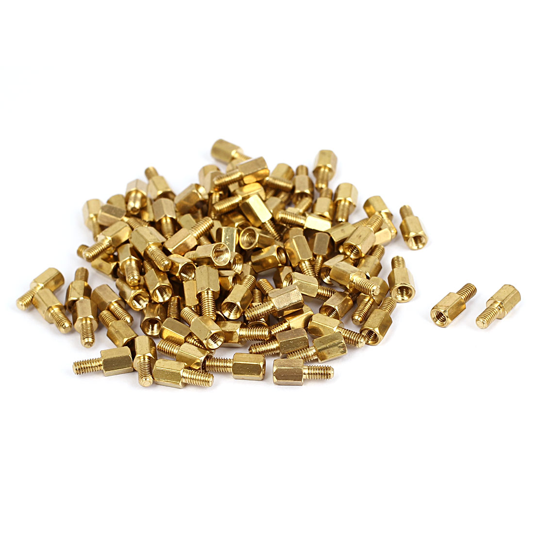 100 Pcs M3x5mm+6mm Female Male Threaded Brass Hex Standoff Spacer for Motherboard