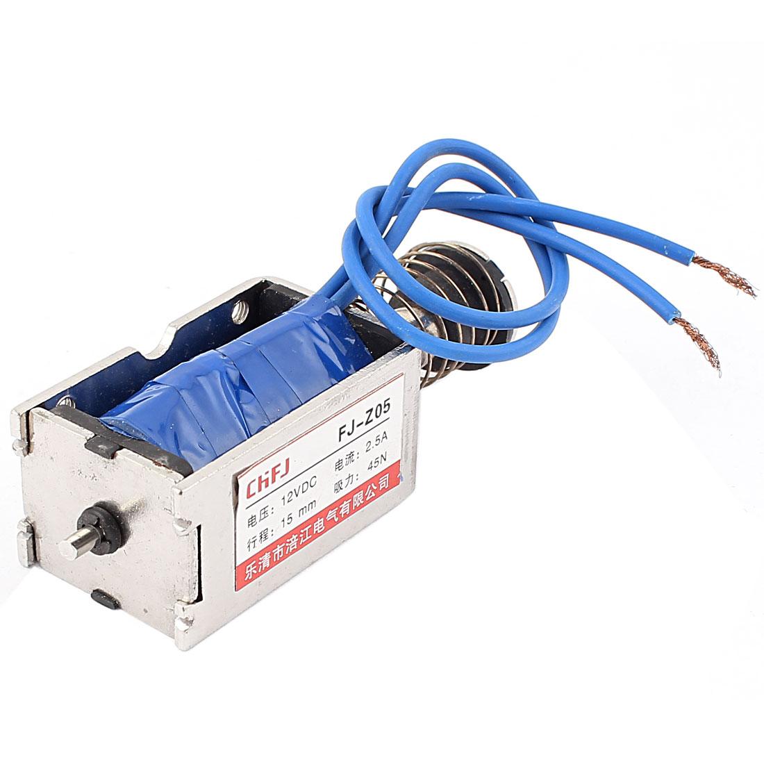 Push Pull Type DIY DC Electromagnet Magnet Solenoid 15mm 45N DC 12V 2.5A
