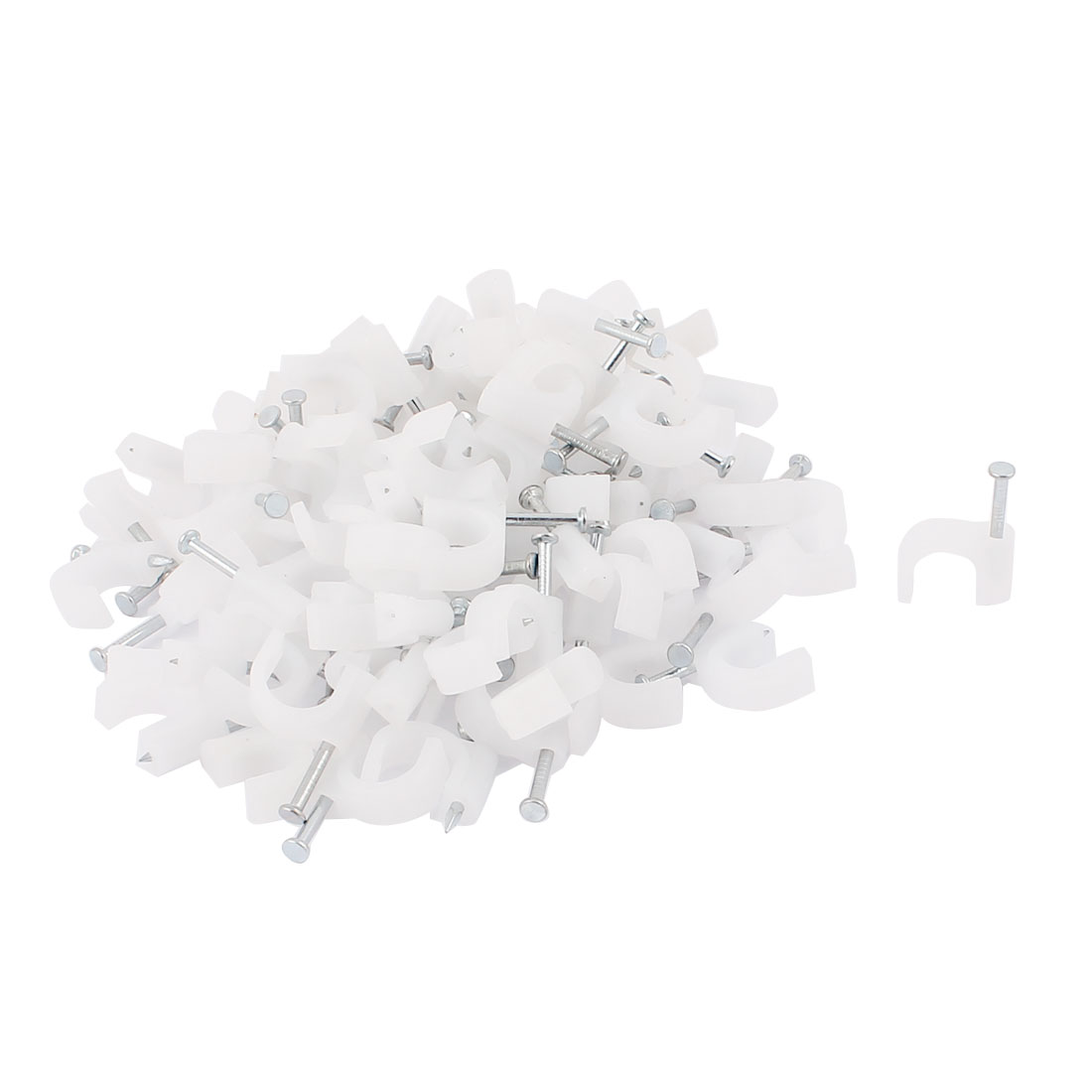 Round Cable Wire Clips Fastener 10mm Diameter w Fixing Nails 100Pcs White