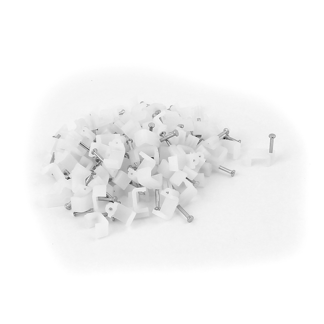 Cable Wire Clips Fastener 8mm Width w Fixing Nails 100Pcs White