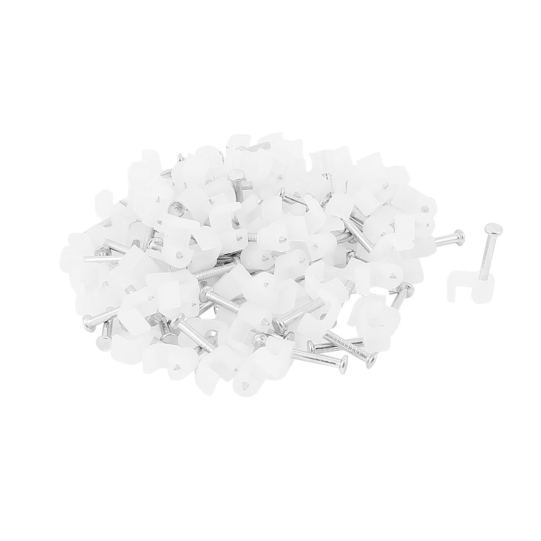 Cable Wire Clips Fastener 4mm Width w Fixing Nails 100Pcs White