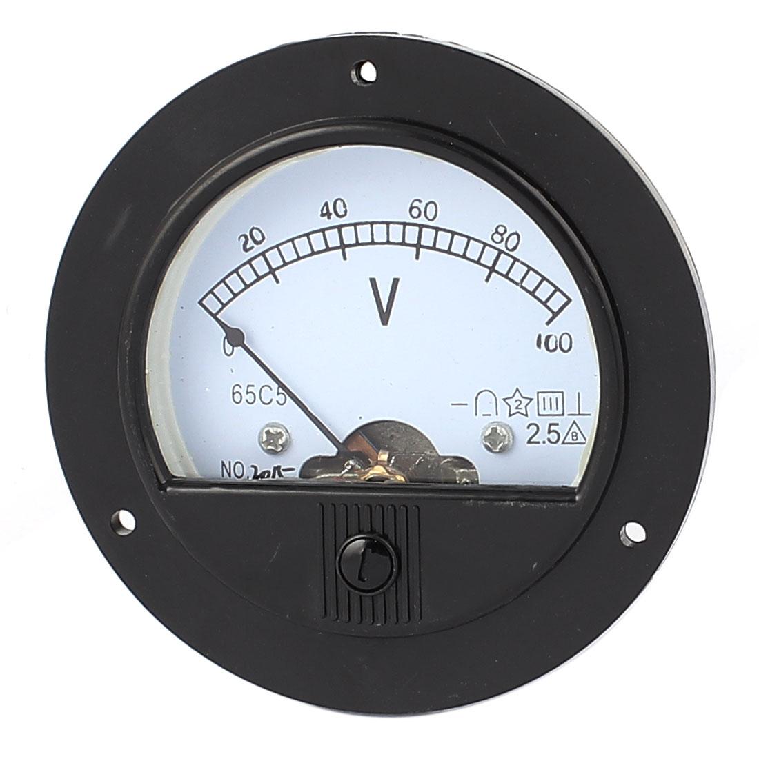 DC 0-100V Analog Panel Voltmeter Voltage Meter Measuring Gauge Class 2.5