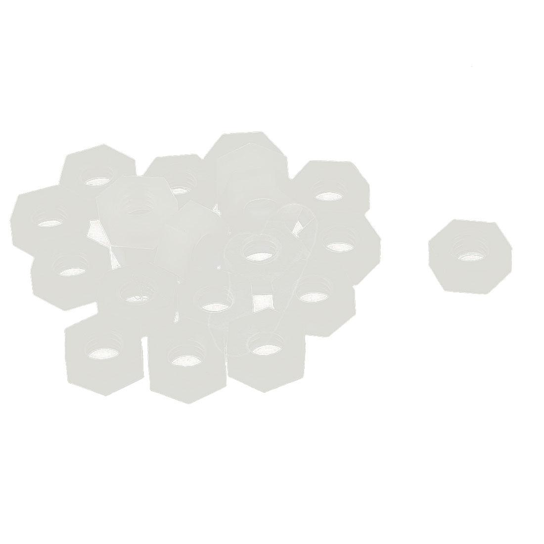 20pcs Pack Of Metric M4 Insert Lock Nylon Full Hex Nuts Plastic Off-White