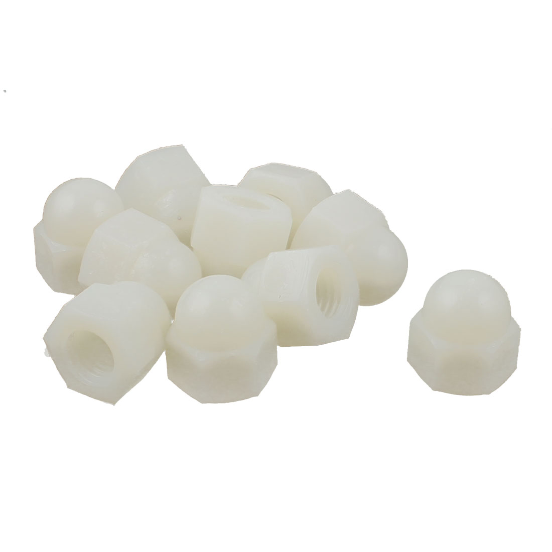 10pcs M10 Plastic Dome Bolt Nut Caps Inner Threaded Protection Covers Hexagon Shaped Off-White
