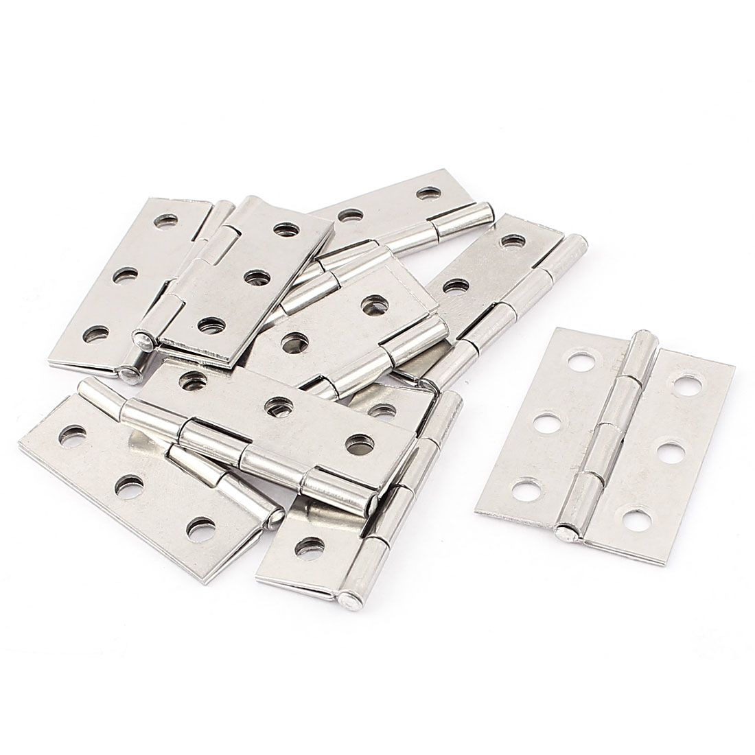 "10 Pcs Silver Tone Window Door Hinge 1.7"" x 1.2"" Polished Metal"