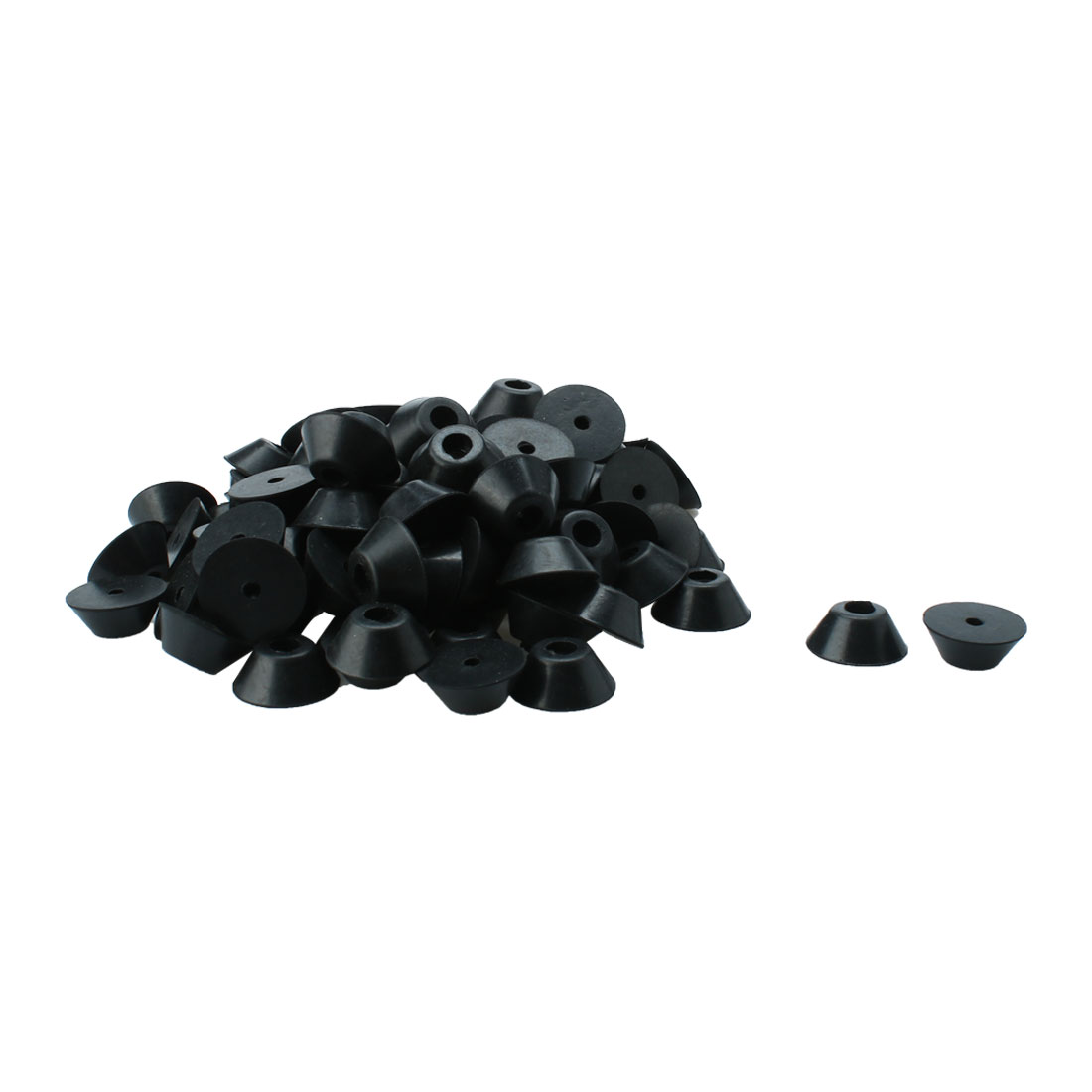 "100 Pcs Conical Rubber Furniture Feet Protector Chair Leg Tips Covers Black 0.28"" High"