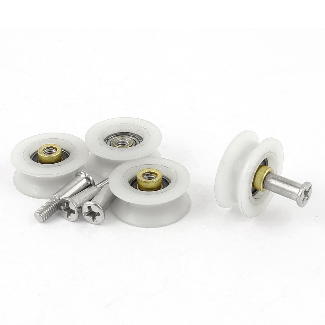 4 Pcs Nylon Roller Sliding Door Window Weight Pulley w Phillips Drive Flat Head Screw