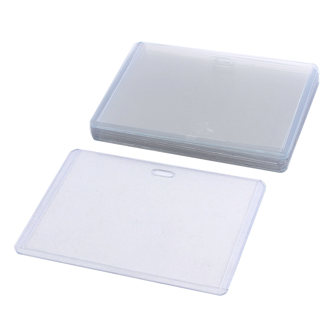 Plastic Horizontal Style ID Card Name Tag Business Badge Holder Case Clear 10pcs