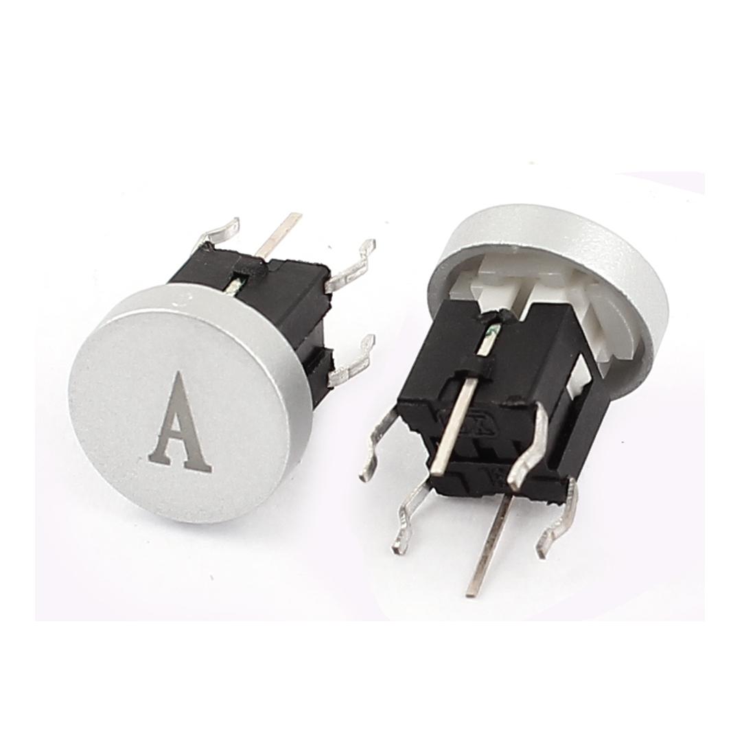 2 Pcs 6x6mm 4 Pin DIP PCB Lamp Push Button Tactile Tact Switch w A Cap