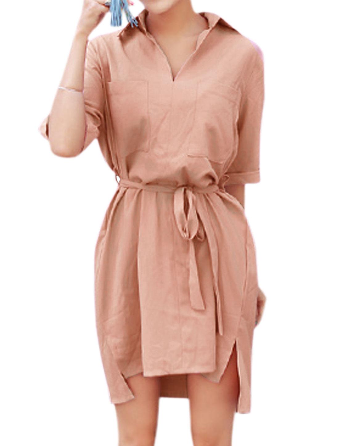 Ladies Elbow Sleeve Bust Pockets Self Tie Waist Shirt Dress Pale Pink XS
