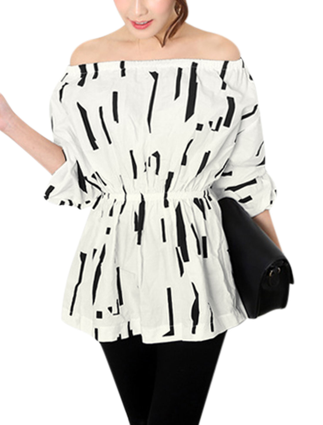 Women Off Shoulder Long Sleeves Elastic Waist Tunic Top White XS
