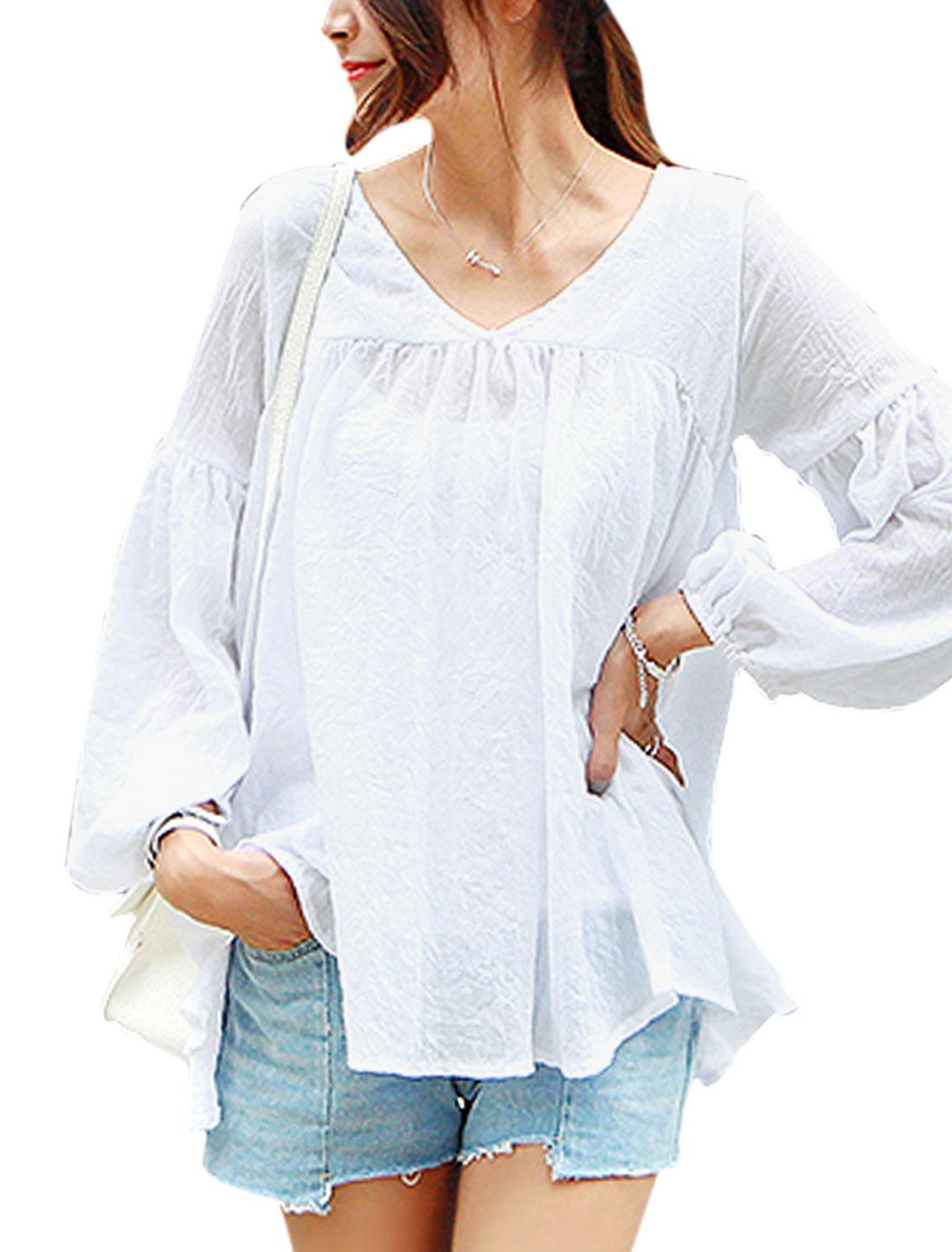 Women V Neck Asymmetrical Hem Two Ways Wearing Tunic Shirt White S