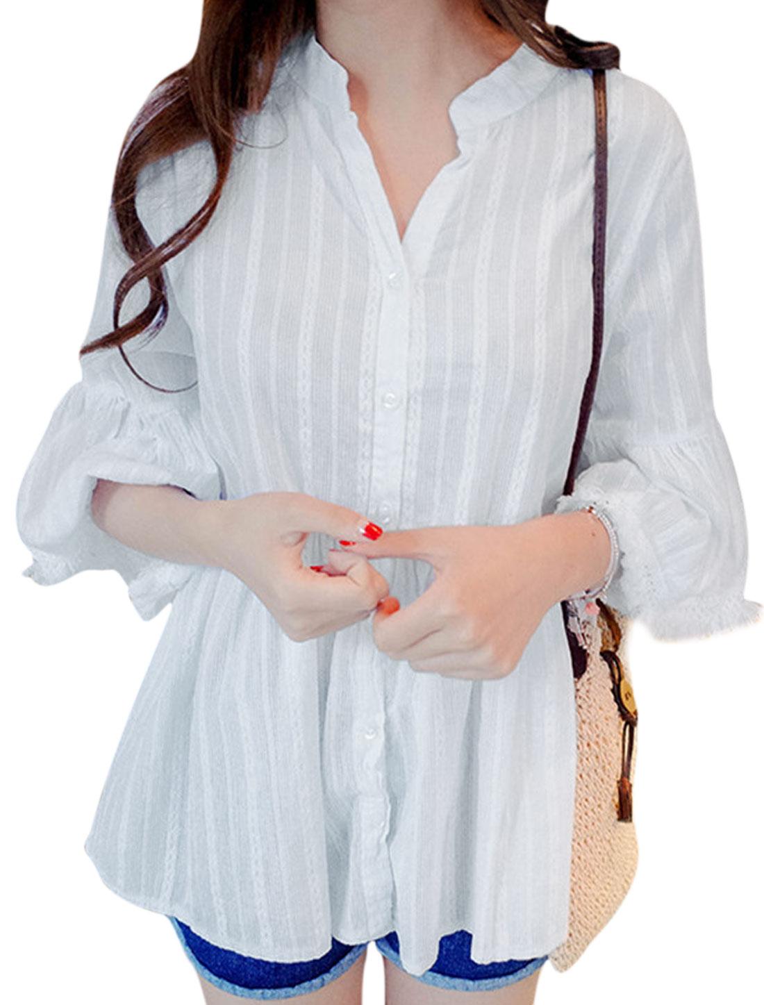 Women Stand Collar V Neckline Textured Button Down Shirt White XS