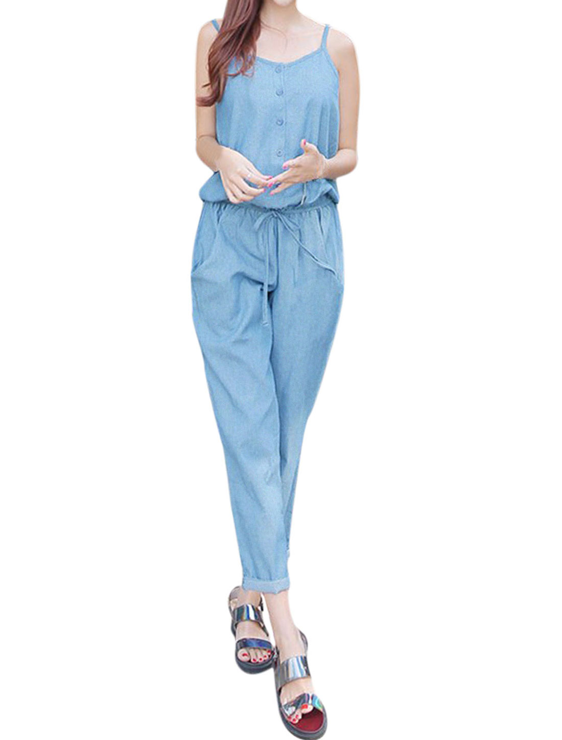 Women Spaghetti Straps Half Placket Elastic Waist Jumpsuit Blue S