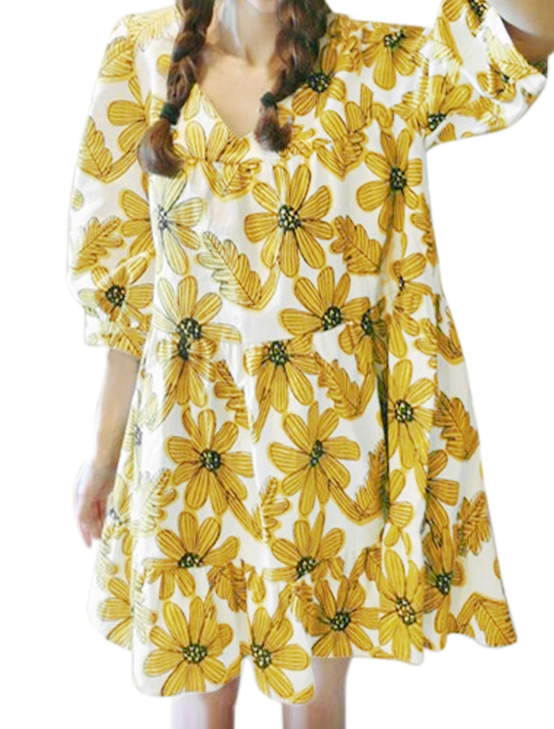 Women V Neck 3/4 Sleeve Floral Prints Casual Tunic Dress Yellow M