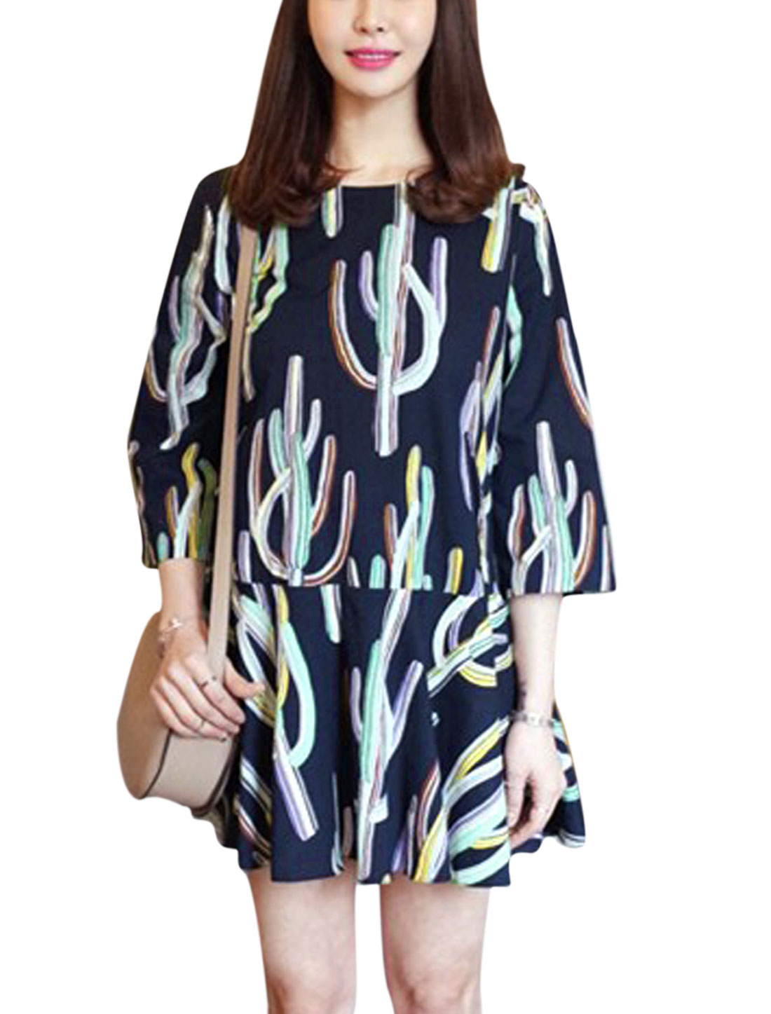 Woman Plant Pattern 3/4 Sleeves Flouncing Hem Unlined Dress Dark Blue M
