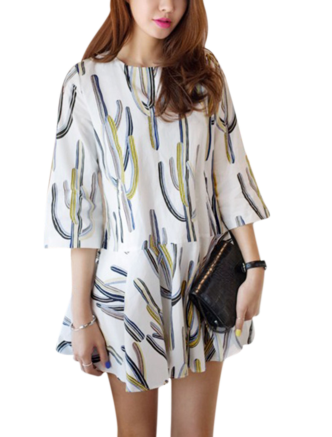 Woman Plant Pattern 3/4 Sleeves Flouncing Hem Round Neck Dress White M