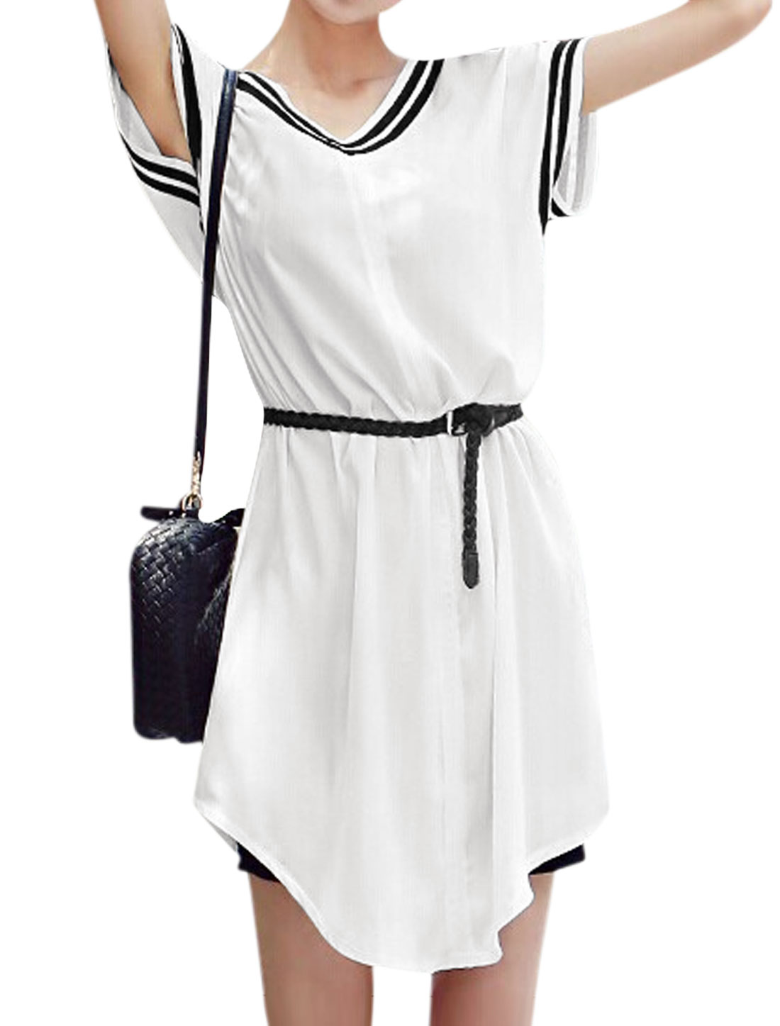 Woman Stripes Detail V Neck Shorts Sleeves Round Hem Belted Tunic Dress White S