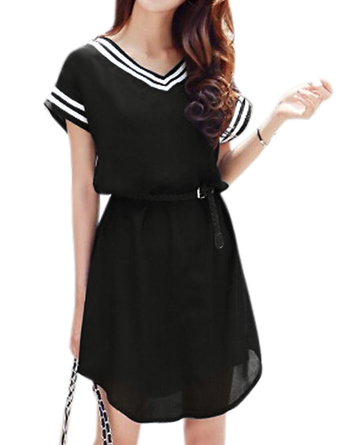 Woman Stripes Detail V Neck Shorts Sleeves Unlined Belted Tunic Dress Black S