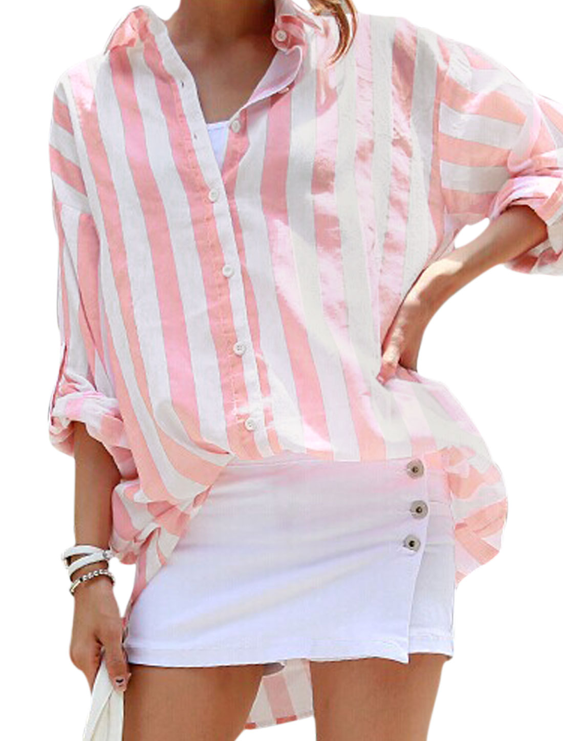 Women Point Collar Single Breasted Stripes Prints Tunic Shirt Pink S