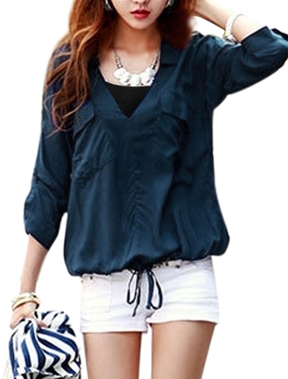 Woman 3/4 Roll Up Sleeves Drawstring Hem Turn Down Collar Shirt Dark Blue S