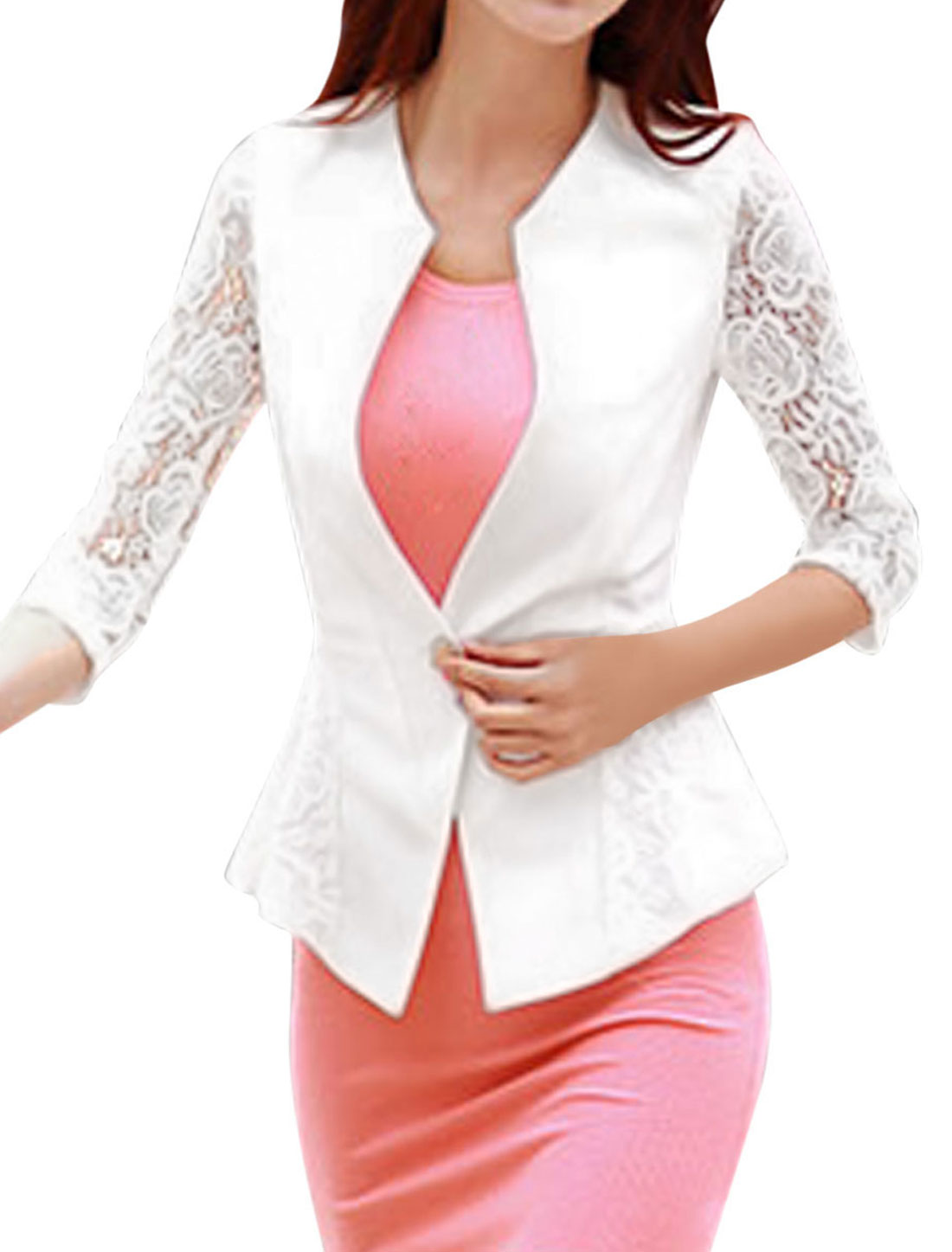 Ladies Lace Panel Hollow Out Button Closure Casual Blazers White S