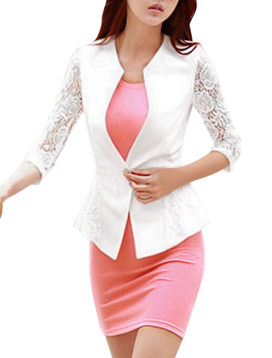 Women Lace Panel Hollow Out Single Button Closure Blazer White L