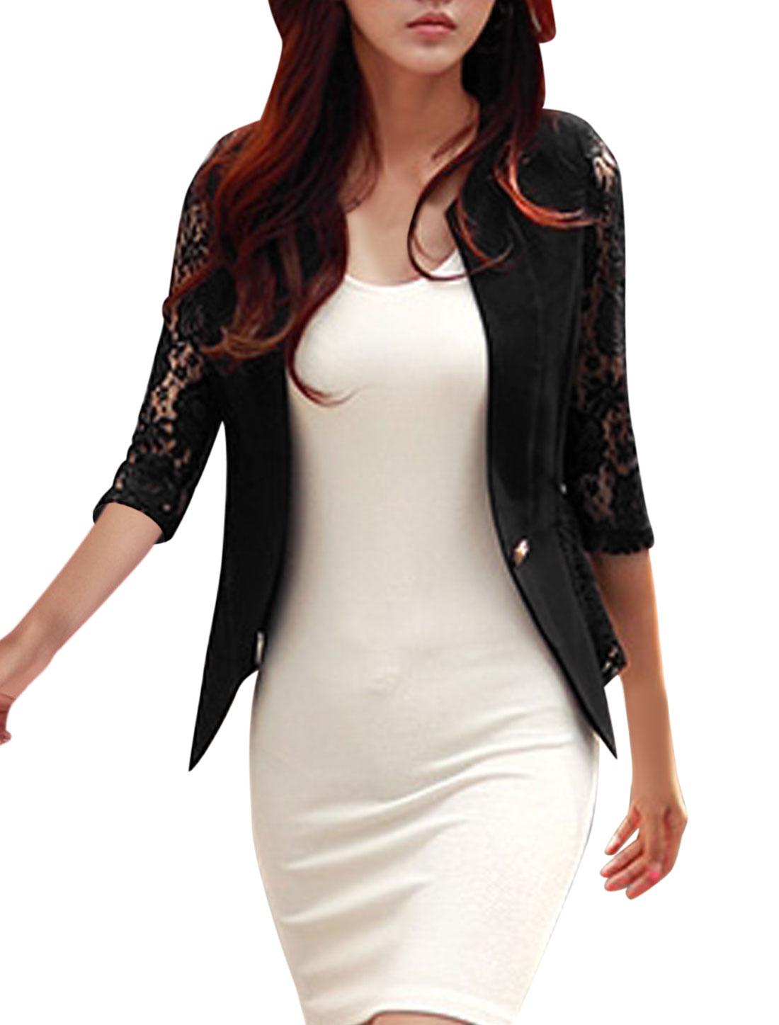 Women Lace Panel Semi Sheer Hollow Out Button Down Blazer Jakcets Black L