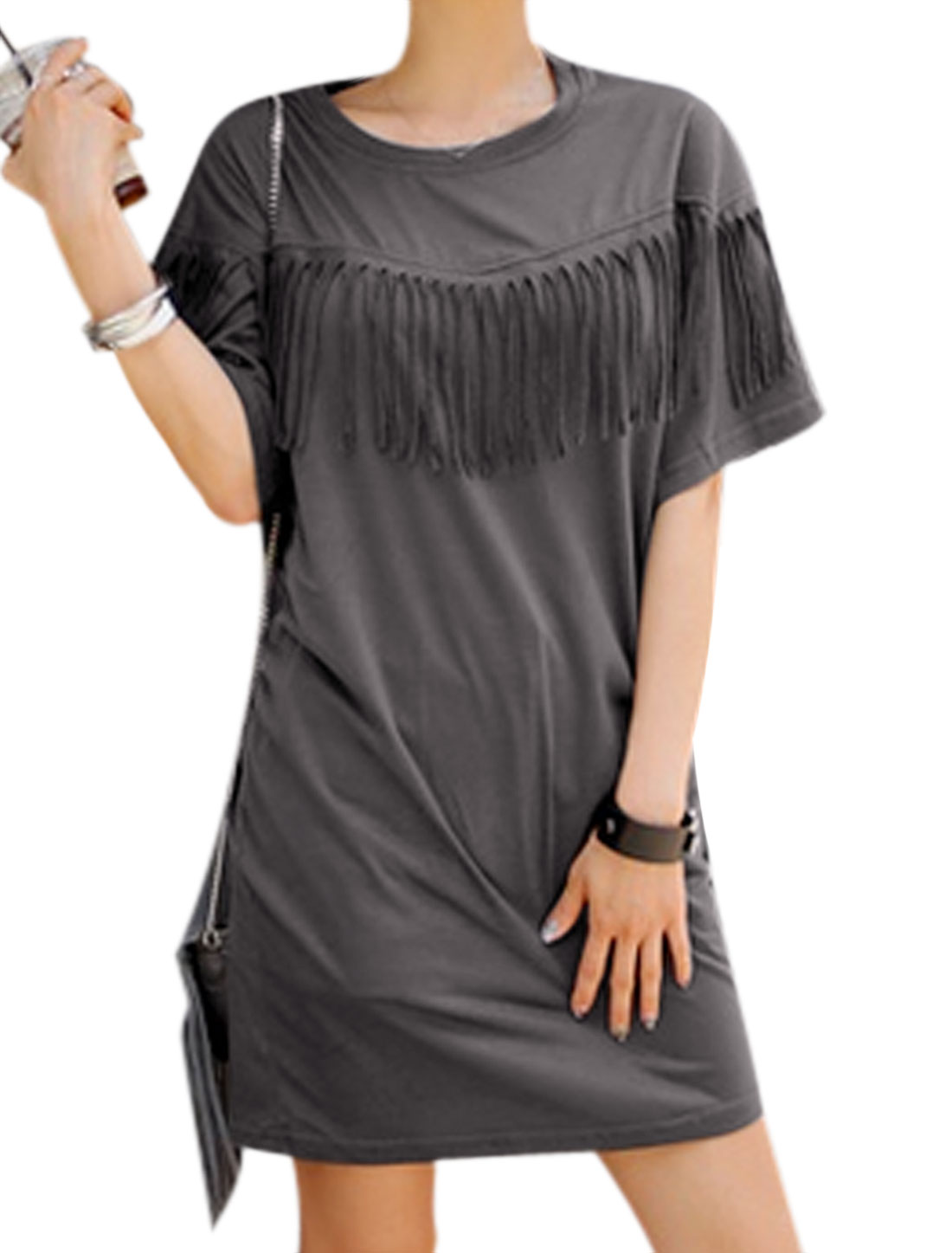 Women Short Sleeve Fringing Decor Casual Tunic Dress Dark Gray S