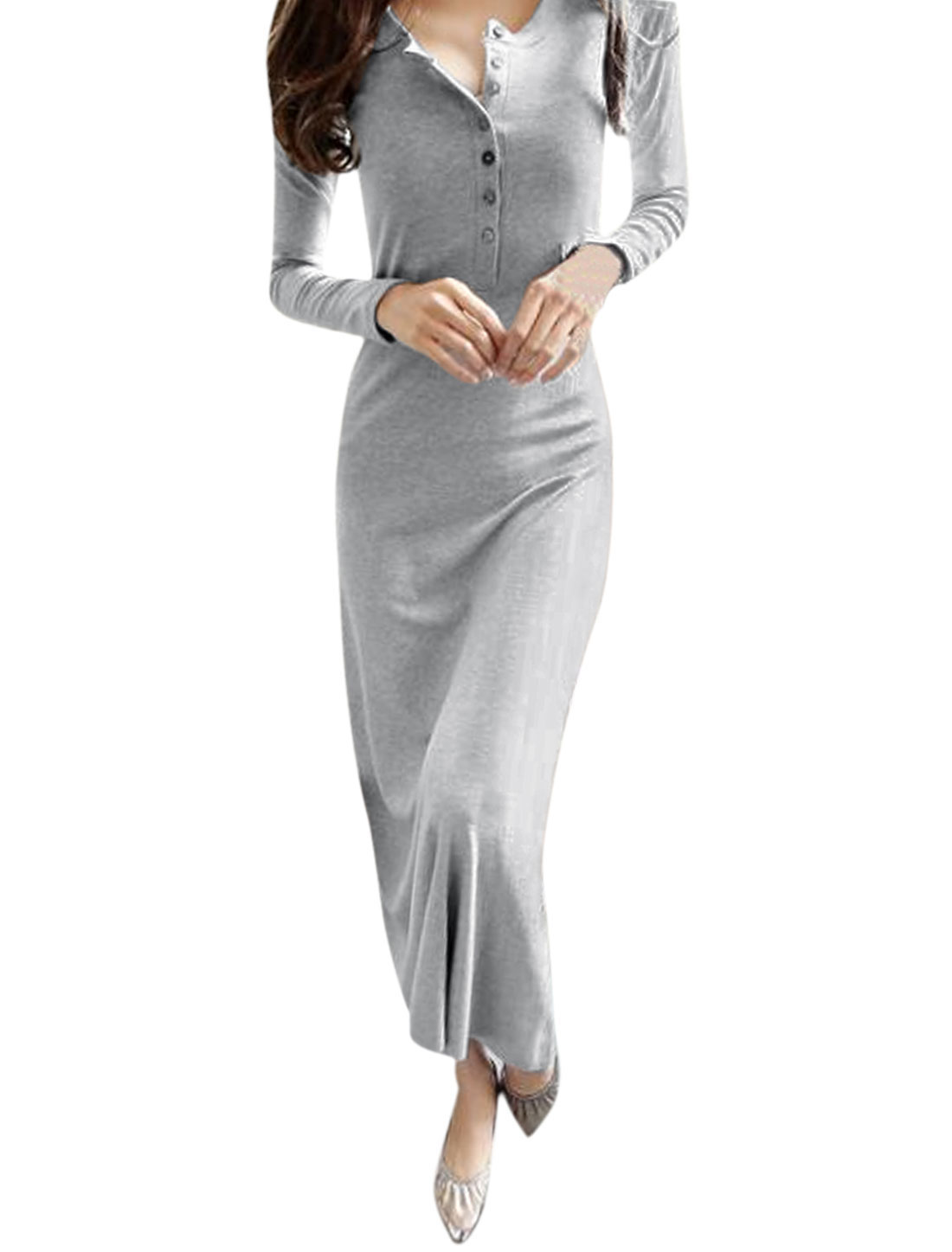 Ladies Long Sleeve Round Neck Button Closure Upper Unlined Maxi Dress Gray M