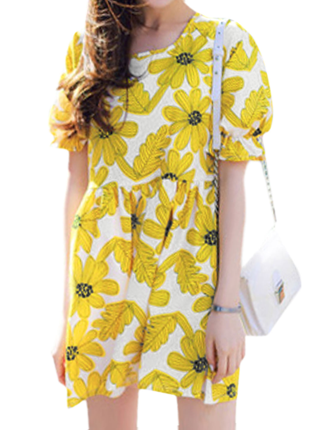 Ladies 3/4 Sleeve Round Neck Floral Print Unlined A Line Dress Yellow XS