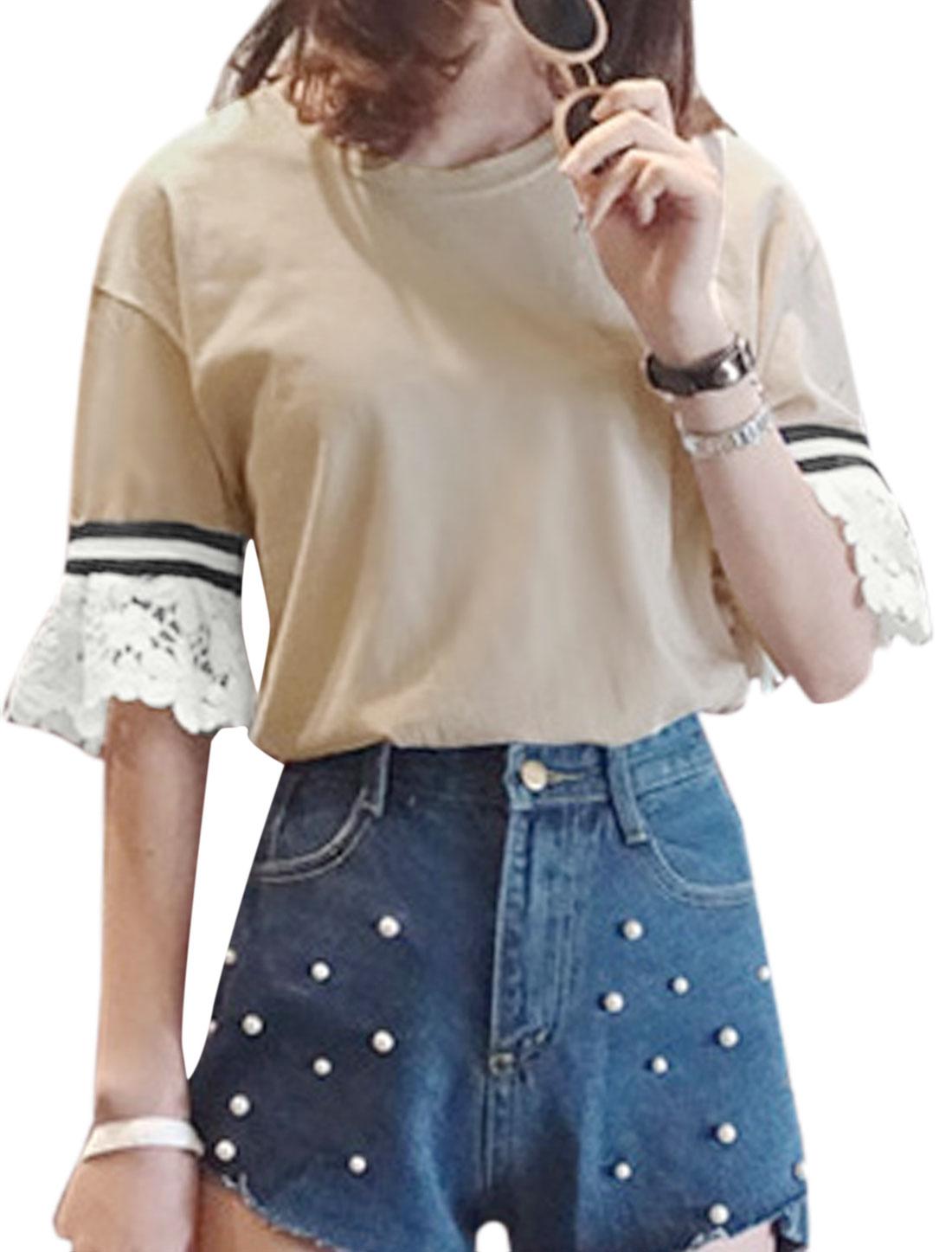 Women Round Neck Half Sleeve Crochet Panel Casual Tee Shirts Beige M