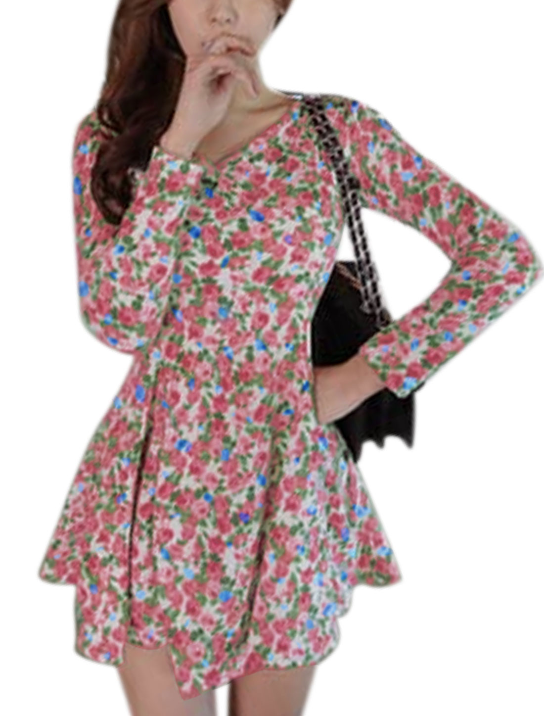 Women Crossover V Neck Long Sleeves Floral Prints A-Line Dress Red S