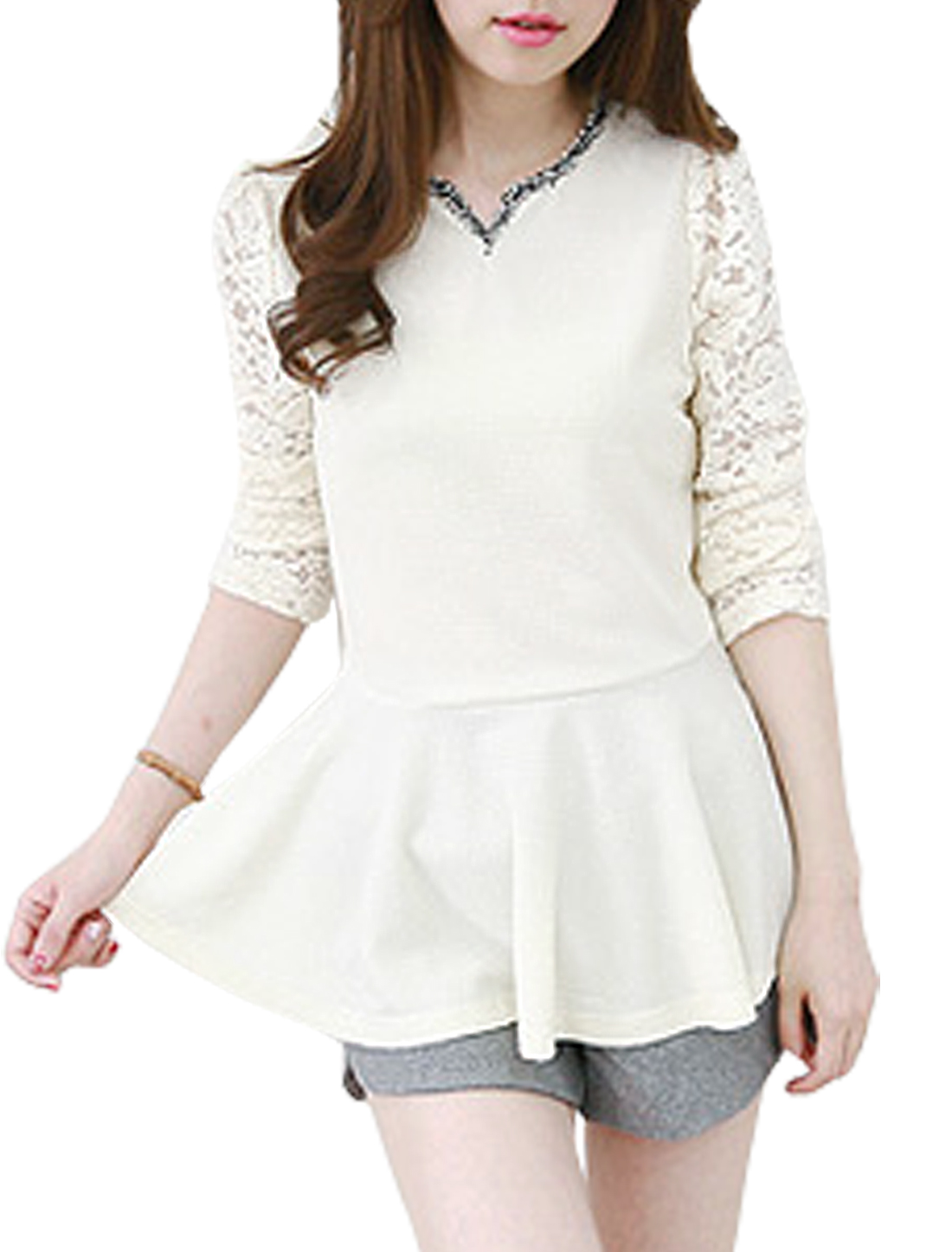 Woman Floral Design Lace Panel Long Sleeves Tunic Peplum Top White S
